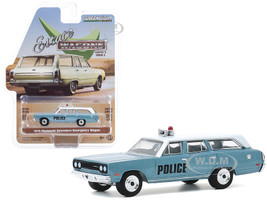 1970 Plymouth Belvedere Emergency Wagon Police Pursuit Blue White Top Estate Wagons Series 5 1/64 Diecast Model Car Greenlight 29990 C