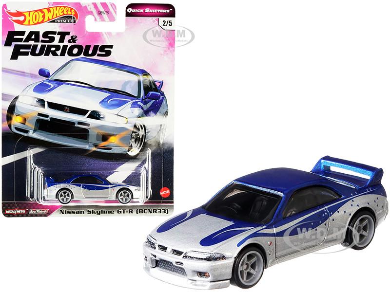 Nissan Skyline GT-R BCNR33 Silver Blue Fast & Furious Diecast Model Car Hot Wheels GJR79