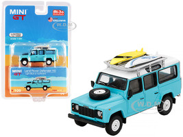 Land Rover Defender 110 Light Blue White Top Two Surfboards Limited Edition 1200 pieces Worldwide 1/64 Diecast Model Car True Scale Miniatures MGT00109