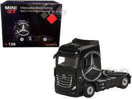 Mercedes Benz Actros Truck Tractor Black Silver Mercedes Logo 1/64 Diecast Model True Scale Miniatures MGT00138