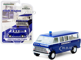 1969 Ford Club Wagon Bus Dark Blue White City Police Emergency Hobby Exclusive 1/64 Diecast Model Car Greenlight 30209
