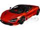 McLaren 720S Memphis Red Metallic Black Top Carbon Accents 1/18 Model Car Autoart 76072