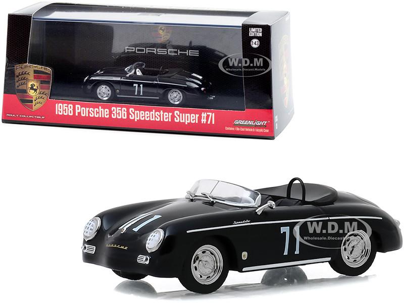 1958 Porsche 356 Speedster Super #71 Race Car Black 1/43 Diecast Model Car Greenlight 86538