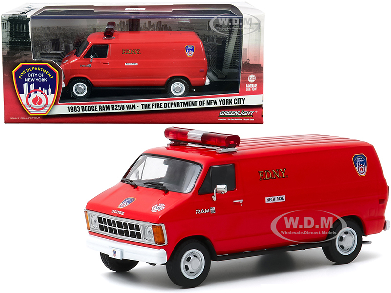 1983 Dodge Ram B250 Van Red Fire Department City of New York FDNY 1/43 Diecast Model Greenlight 86578