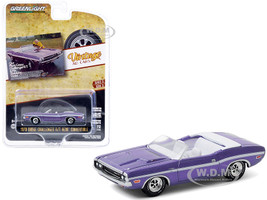 1970 Dodge Challenger R/T HEMI Convertible Plum Crazy White Stripes Our Plum Crazy Challenger R/T is No Shrinking Violet Vintage Ad Cars Series 3 1/64 Diecast Model Car Greenlight 39050 B