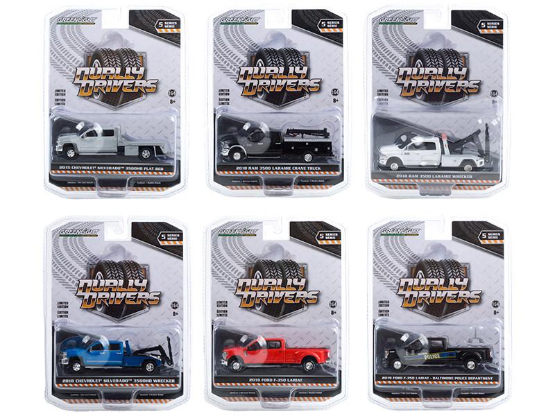 Dually Drivers Set of 6 Trucks Series 5 1/64 Diecast Model Cars Greenlight 46050