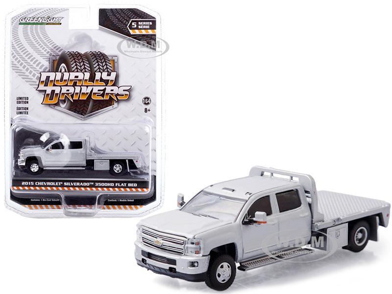 2015 Chevrolet Silverado 3500HD Dually Flatbed Truck Silver Ice Metallic Dually Drivers Series 5 1/64 Diecast Model Car Greenlight 46050 A