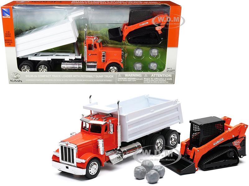 Peterbilt Dump Truck Kubota Orange White Kubota SVL95-2s Compact Track Loader Orange Black Boulders Set of 2 pieces 1/32 Diecast Models New Ray SS-33383