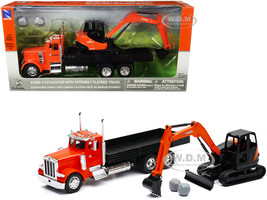 Peterbilt Flatbed Truck Kubota Orange Black Kubota KX080-4 Excavator Orange Black Boulders Set of 2 pieces 1/32 Diecast Models New Ray SS-34023