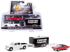 2014 Ram 1500 Pickup Truck White 1968 Dodge Charger R/T Red Black Top Enclosed Car Hauler Counting Cars 2012 TV Series Hollywood Hitch Tow Series 8 1/64 Diecast Model Cars Greenlight 31100 C