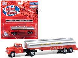 1957 Chevrolet Truck Tractor Tanker Trailer Orange Silver Millstone Township Fire Co 1/87 HO Scale Model Classic Metal Works 31197