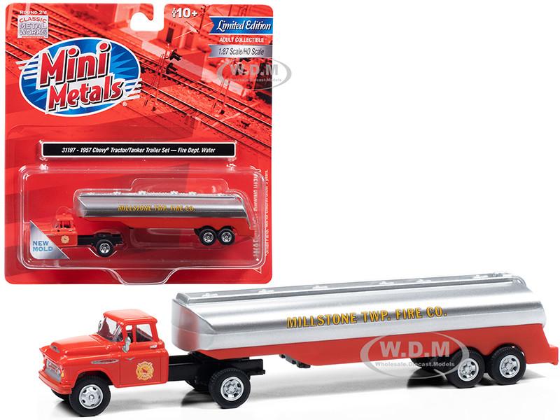 1957 Chevrolet Truck Tractor Tanker Trailer Orange Silver Millstone Township Fire Co 1/87 HO Scale Model Classic Metal Works 31197