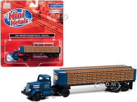 White WC22 Truck Tractor Bottle Trailer Dark Blue The Peoples Brewing Co 1/87 HO Scale Model Classic Metal Works 31198