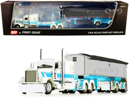 "Peterbilt 389 63"" Flattop Sleeper Cab Cream Light Blue MAC Coal End Dump Spread-Axle Trailer Chrome STS Transit 1/64 Diecast Model DCP First Gear 60-0827"