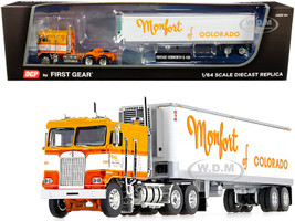 Kenworth K100 COE Flattop Cab 40' Vintage Reefer Refrigerated Trailer Monfort of Colorado Orange White 33rd in a Fallen Flag Series 1/64 Diecast Model DCP First Gear 60-0831