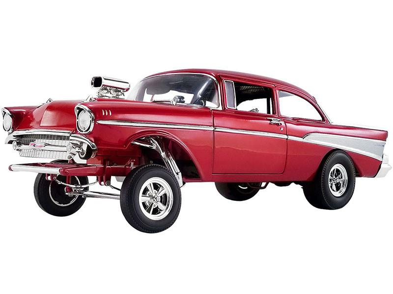 1957 Chevrolet Bel Air Gasser Rat Fink Gasser Red Metallic Limited Edition 1/18 Diecast Model Car ACME A1807008