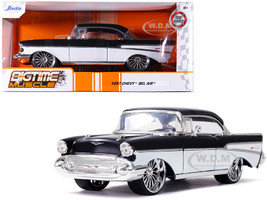 1957 Chevrolet Bel Air Black White Bigtime Muscle 1/24 Diecast Model Car Jada 32299