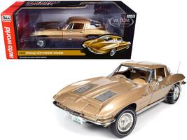 1963 Chevrolet Corvette Stingray Coupe Saddle Tan Metallic 1/18 Diecast Model Car Autoworld AMM1222