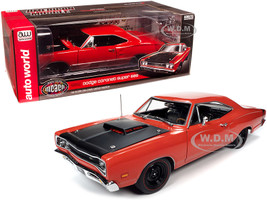 1969/5 Dodge Coronet Super Bee Hardtop R4 Red Black Hood Muscle Car & Corvette Nationals MCACN 1/18 Diecast Model Car Autoworld AMM1231