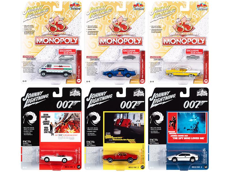 Pop Culture 2020 Set of 6 Cars Release 2 1/64 Diecast Model Cars Johnny Lightning JLPC002