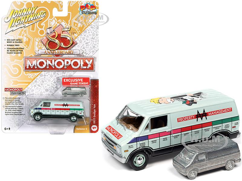 1977 Dodge Van Lime Green Metallic Property Management Game Token Monopoly 85th Anniversary Pop Culture Series 1/64 Diecast Model Car Johnny Lightning JLPC002 JLSP122