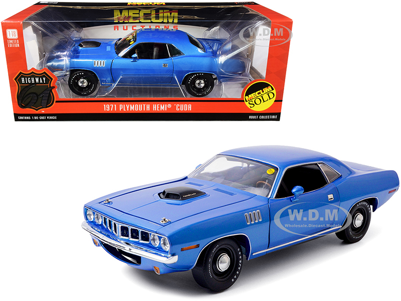 1971 Plymouth HEMI Barracuda Blue Metallic Lot #S266 Indianapolis 2011 Mecum Auctions 1/18 Diecast Model Car Highway 61 18025