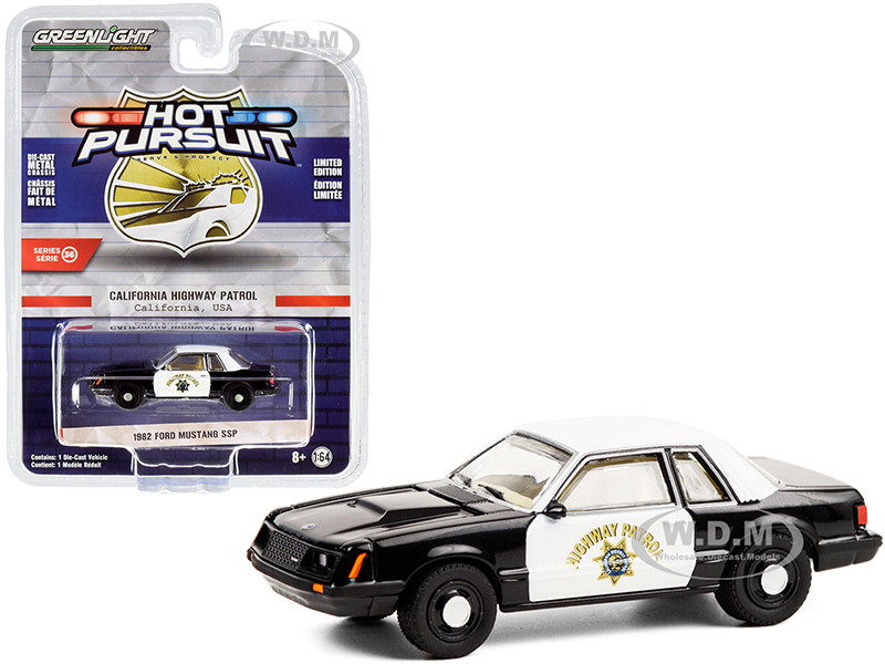 1982 Ford Mustang SSP Black White CHP California Highway Patrol Hot Pursuit Series 36 1/64 Diecast Model Car Greenlight 42930 C