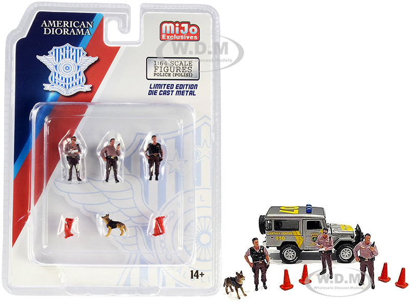 Indonesia Police 8 piece Diecast Set 3 Figurines 1 Dog 4 Accessories for 1/64 Scale Models American Diorama 76460