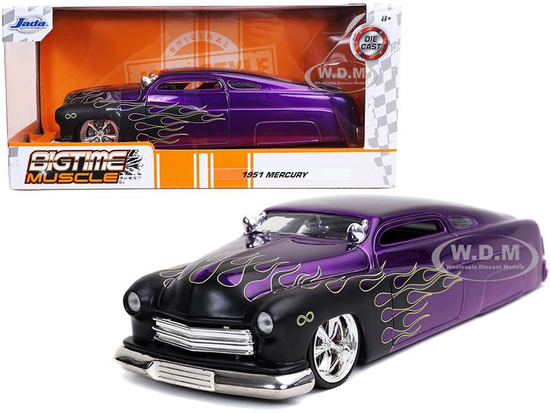 1951 Mercury Purple Black Flames Bigtime Muscle 1/24 Diecast Model Car Jada 32305