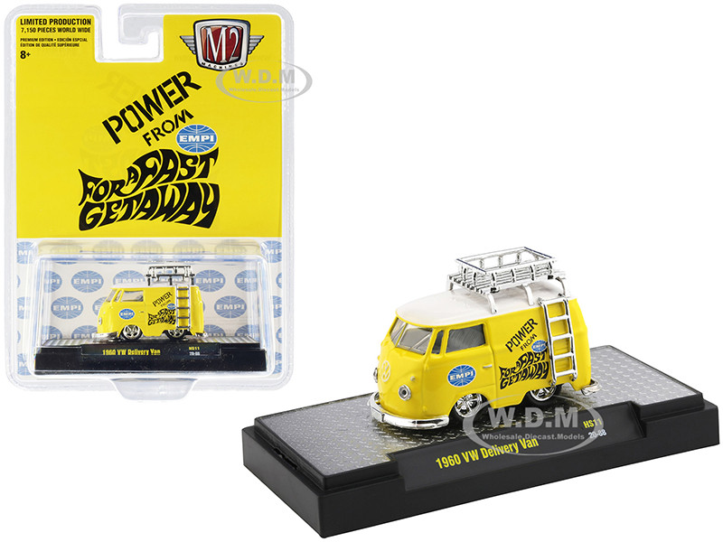 1960 Volkswagen Delivery Van Ladder Roof Rack EMPI Bright Yellow White Top Limited Edition 7150 pieces Worldwide 1/64 Diecast Model Car M2 Machines 31500-HS11