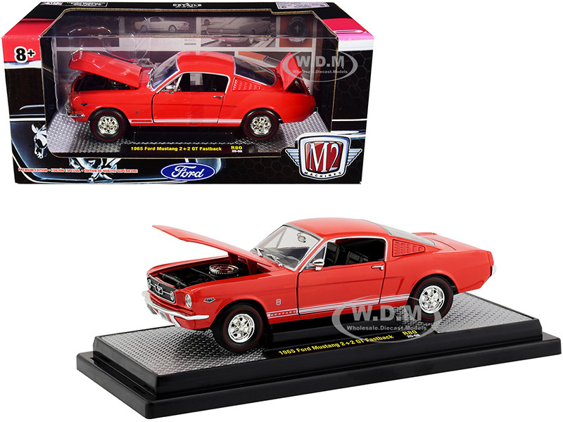 1965 Ford Mustang 2+2 GT Fastback Rangoon Red White Stripes Limited Edition 7000 pieces Worldwide 1/24 Diecast Model Car M2 Machines 40300-80 A