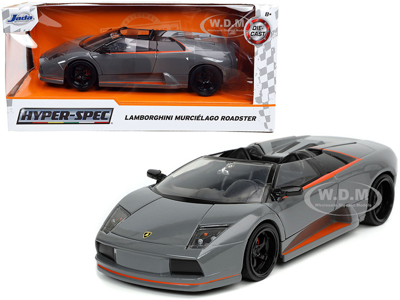 Lamborghini Murcielago Roadster Gray Orange Stripes Hyper-Spec 1/24 Diecast Model Car Jada 32569