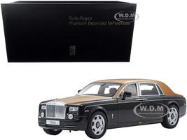 Rolls Royce Phantom Extended Wheelbase Diamond Black Gold 1/18 Diecast Model Car Kyosho 08841 BKG