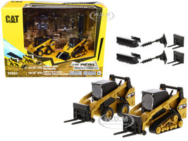 Set of 2 pieces CAT Caterpillar 272D2 Skid Steer Loader CAT Caterpillar 297D2 Compact Track Loader Accessories 1/64 Diecast Models Diecast Masters 85693