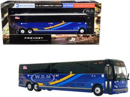 Prevost X3-45 Commuter Coach Bus BxM18 Downtown Wall St New York City MTA Dark Blue Stripes 1/87 HO Diecast Model Iconic Replicas 87-0224