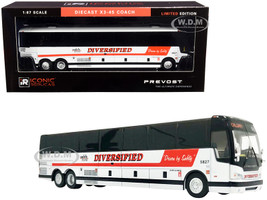 Prevost X3-45 Coach Bus Calgary Canada Diversified Transportation White Red Stripes 1/87 HO Diecast Model Iconic Replicas 87-0252