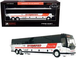 Prevost X3-45 Coach Bus Calgary Canada Diversified Transportation White Red Stripes 1/87 HO Diecast Model Iconic Replicas 87-0252