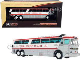 1970 MCI MC-7 Challenger Intercity Motorcoach Bus Charter Frank Martz Coach Co. White Silver Red Stripes Vintage Bus Motorcoach Collection 1/87 HO Diecast Model Iconic Replicas 87-0255
