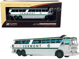 1970 MCI MC-7 Challenger Intercity Motorcoach Bus Burlington Vermont Transit Lines White Silver Green Stripes Vintage Bus Motorcoach Collection 1/87 HO Diecast Model Iconic Replicas 87-0256
