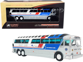 1970 MCI MC-7 Challenger Intercity Motorcoach Bus City Tour Sightseeing Tours Gray Line White Silver Stripes Vintage Bus Motorcoach Collection 1/87 HO Diecast Model Iconic Replicas 87-0257
