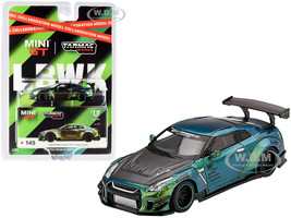 Nissan GT-R R35 Type 2 Rear Wing Version 3 LB Works Magic Green Carbon Hood Collaboration Model 1/64 Diecast Model Car Tarmac Works True Scale Miniatures MGT00145