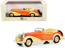 1934 Hispano Suiza J12 Convertible Top Down RHD Right Hand Drive Carrosserie Vanvooren Cream Orange Limited Edition 250 pieces Worldwide 1/43 Model Car Esval Models EMEU43002 A