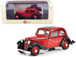 1934-1939 Adler Trumpf Junior Two-Door Sedan Red Black Limited Edition 250 pieces Worldwide 1/43 Model Car Esval Models EMEU43034 A