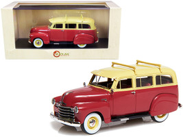 1951 Chevrolet 3100 Suburban Maroon Cream Top Limited Edition 250 pieces Worldwide 1/43 Model Car Esval Models EMUS43085 A