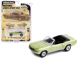 1967 Ford Mustang Sports Sprint Convertible Lime Gold Metallic Hobby Exclusive 1/64 Diecast Model Car Greenlight 30215