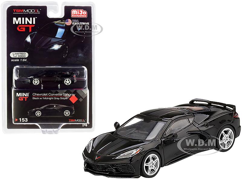 2020 Chevrolet Corvette Stingray C8 Black Midnight Gray Stripe Limited Edition 3000 pieces Worldwide 1/64 Diecast Model Car True Scale Miniatures MGT00153