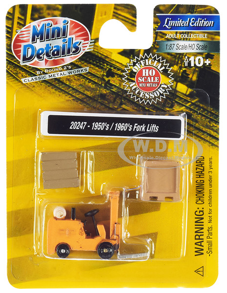 1950's 1960's Forklift Truck Yellow Accessories 1/87 HO Scale Model Classic Metal Works 20247