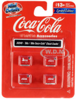 1950's 1960's Coca Cola Chest Coolers 4 piece Accessory Set 1/87 HO Scale Models Classic Metal Works 20249