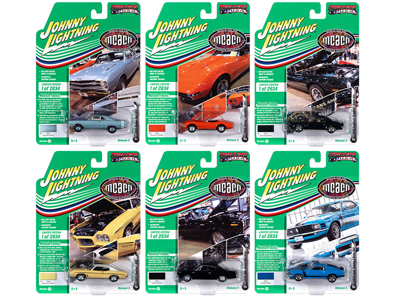 Muscle Cars USA 2020 Set A 6 Cars Release 3 Muscle Car Corvette Nationals MCACN Limited Edition 2834 pieces Worldwide 1/64 Diecast Model Cars Johnny Lightning JLMC024 A