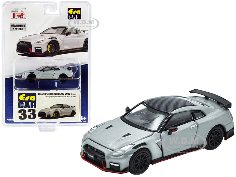 2020 Nissan GT-R R35 RHD Right Hand Drive Nismo Gray Carbon Top Limited Edition 1200 pieces Special Edition 1/64 Diecast Model Car Era Car NS20GTRRF33B